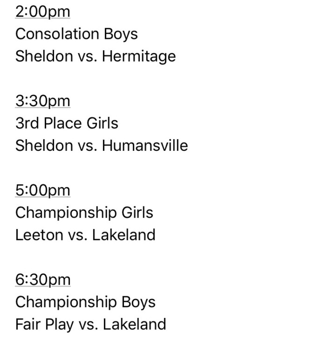 Lakeland Tournament Schedule 2-9-19