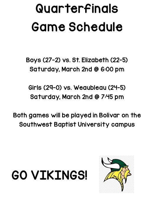 Quarterfinals game schedule