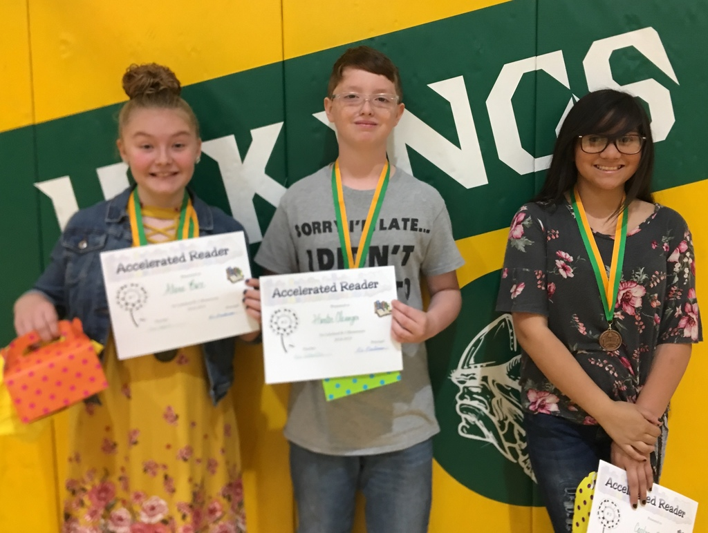 Top 3 Accelerated Readers: Alana Buce, Aaron Clevenger and Carolyn Rucker