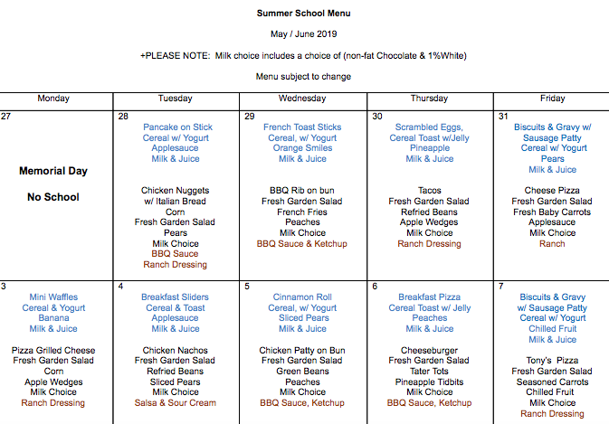 Summer School Menu